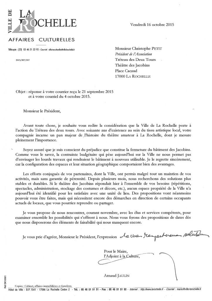Réponse Mairie 16-10-2015
